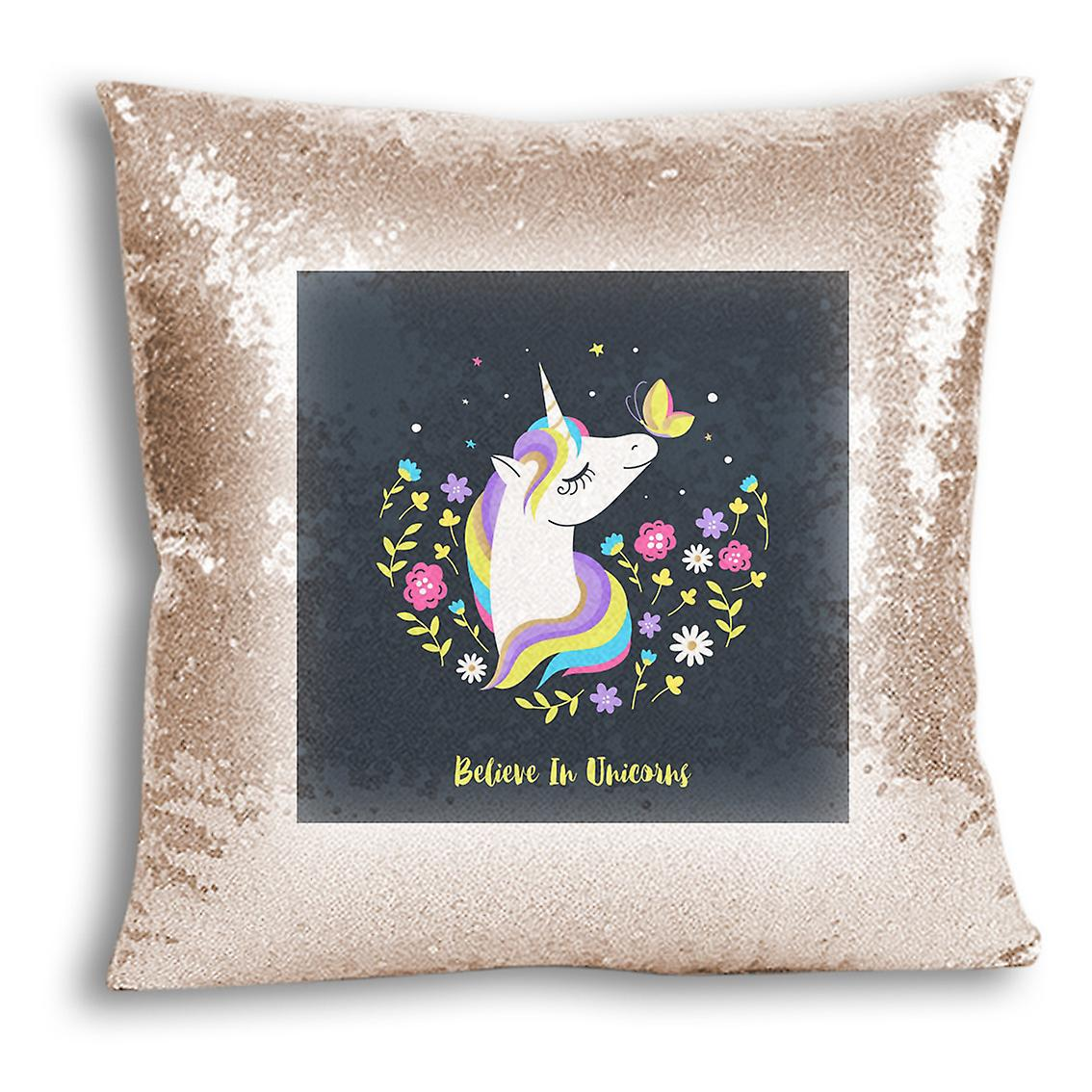 Design Home Inserted Decor Printed For 14 CushionPillow I Champagne tronixsUnicorn With Sequin Cover kiXlOuwPZT