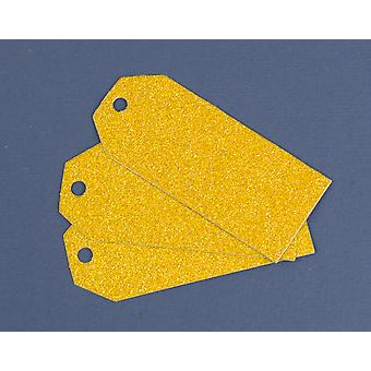 SALE -  16 Gold Glittered Tags for Christmas Gift Wrap & Crafts