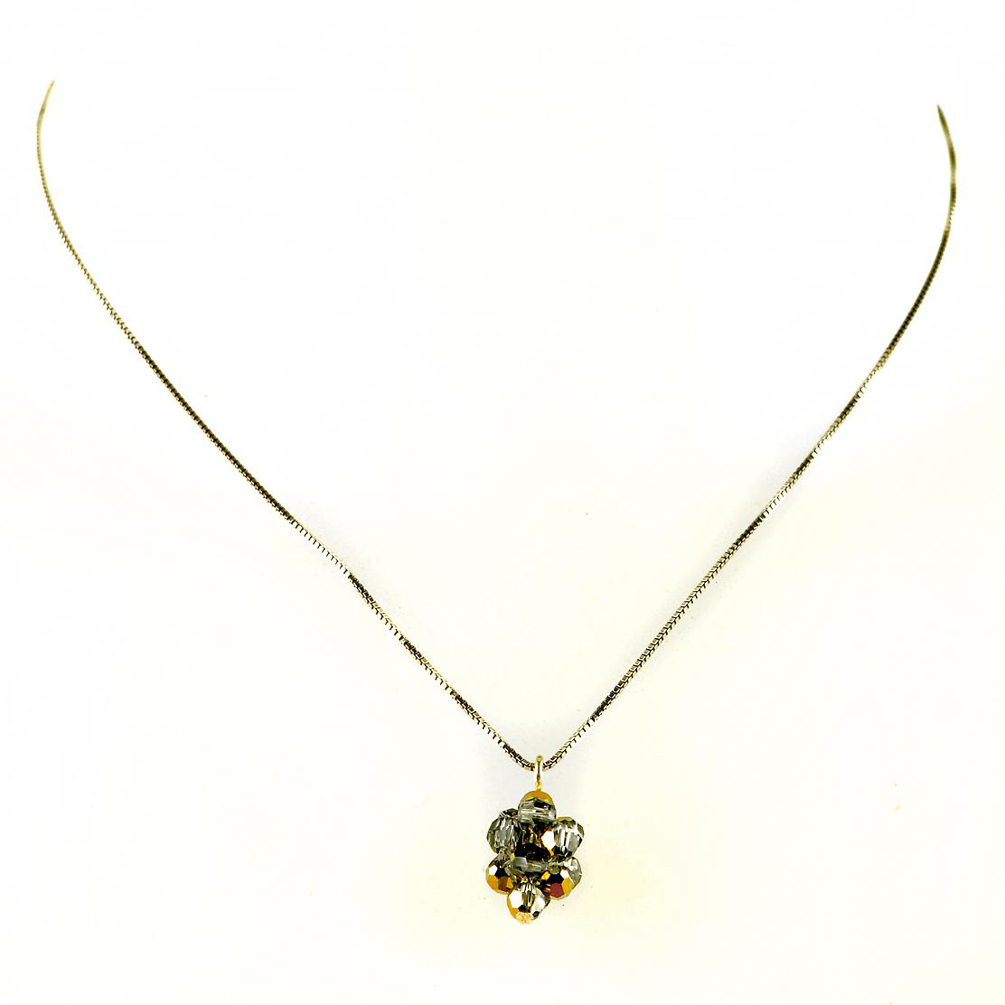 Waooh - jewelry - WJ0294 - necklace with silver Swarovski Crystal and gold - chain silver