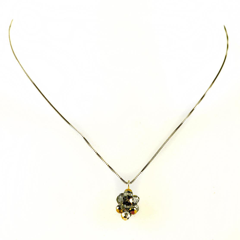 Waooh - joyería - WJ0294 - collar de plata Swarovski Crystal y oro - plata de cadena