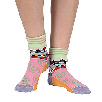 Dots women's cotton turn-over crew socks in purple | Dub & Drino