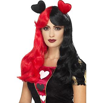 Two Tone Cosplay Wig, Red & Black, with Attached Hearts