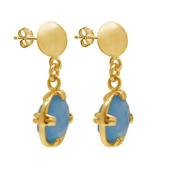 Gemshine Damen Ohrringe mit blauen Chalcedon Edelsteinen. 925 Silber oder hochwertig vergoldet - Nachhaltiger, qualitätsvoller Schmuck Made in Spain