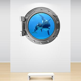 Full Colour Silver Orca Whale Mother and Baby Porthole Wall Sticker