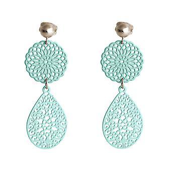 Gemshine damer øredobber Yoga mandala sirkel i sølv eller høykvalitets, gullbelagt drop øredobber - blå - blå - kvalitet smykker laget i Spania