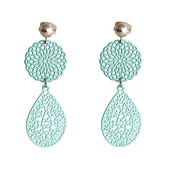 Gemshine Ohrringe Yoga Mandala Tropfen 925 Silber, vergoldet oder rose - Blau
