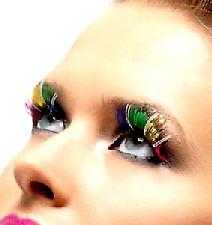 Rainbow Coloured Eyelashes - Multi-coloured - With Adhesive