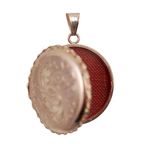 9ct Rose Gold 31mm half engraved twisted wire edge flat round Locket