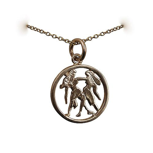 9ct Gold 11mm pierced Gemini Zodiac Pendant with a cable Chain 16 inches Only Suitable for Children
