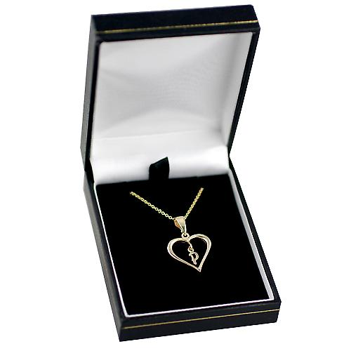 9ct Gold 18x18mm initial P in a heart with Cable link chain