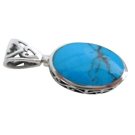 Awesomly Oval Turquoise Sterling Silver Pendant Gift