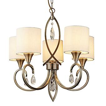 Alberto Antique Brass Five Light Pendant With Crystals - Searchlight 1605-5AB