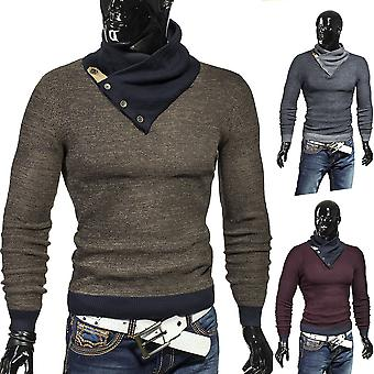 Men's sweater knitted sweat shirt fabric candlelit shawl collar sweatshirt