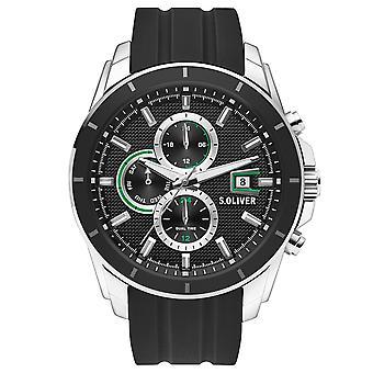 s.Oliver Herren Uhr Armbanduhr Edelstahl Silikon SO-3755-PM