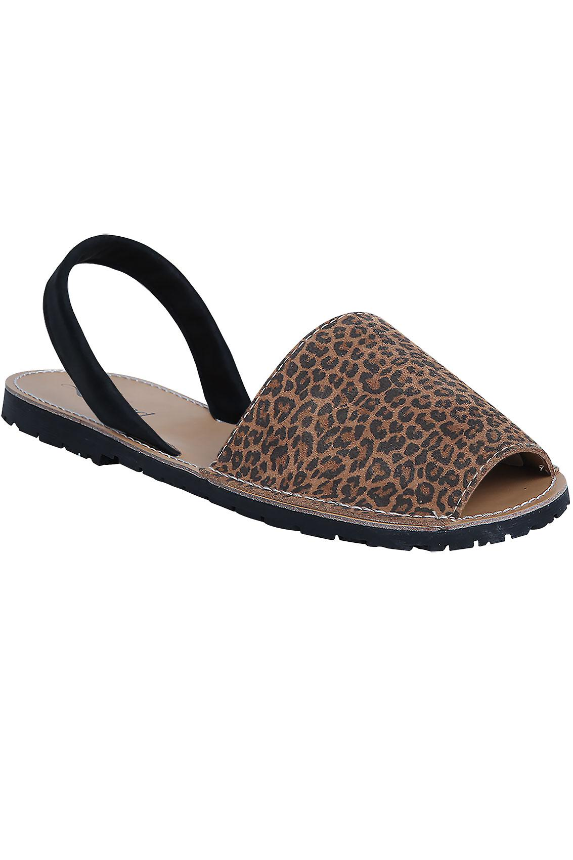 Tan Real Leather Leopard Print Peep Toe Sandals In E Fit
