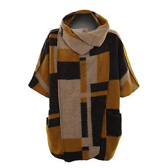 Damer kutte skildpadde hals Patchwork Check Fleece Wrap kort Poncho Jumper