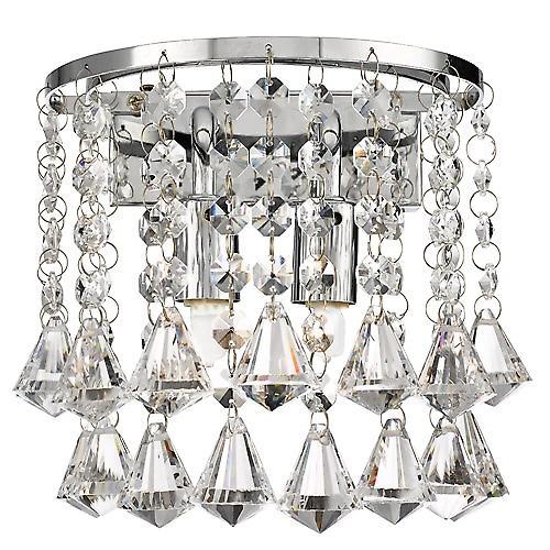 Searchlight 3302-2CC Hanna Modern Chrome Crystal Wall Light With Diamond Drops