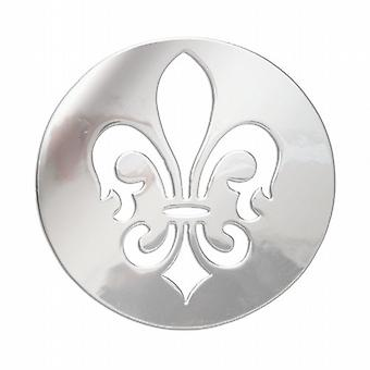 Lucet Mundi Silvertone 'Fleur De Lis' Coin for Interchangeable Locket Pendant