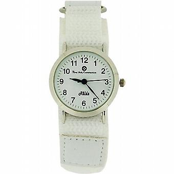 Relda Girls First Holy Communion Analogue White Dial & White Velcro Strap Watch