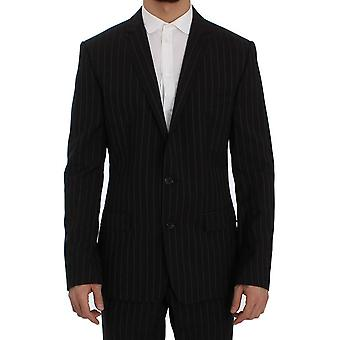 Black striped wool slim fit staff suit