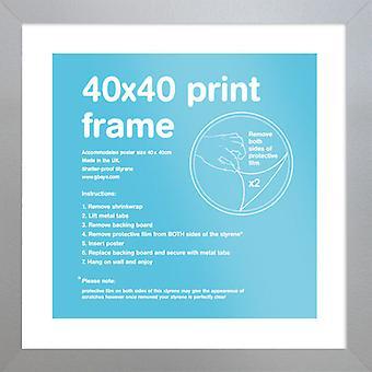 Eton zilver Frame 40x40cm Poster / Frame afdrukken