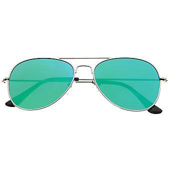 Classic Teardrop Full Metal Flash Mirrored Flat Lens Aviator Sunglasses 54mm