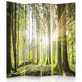 Przegroda pokoju, 4 panele, dwustronny, płótno, słońce w lesie
