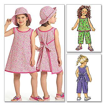Children's Girls Top, Dress, Pants And Hat  Cdd 2  3  4  5 Pattern B5019  Cdd
