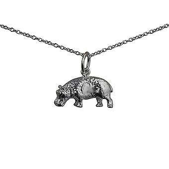 Silver 9x17mm Hippopotamus Pendant with a rolo Chain 14 inches Only Suitable for Children