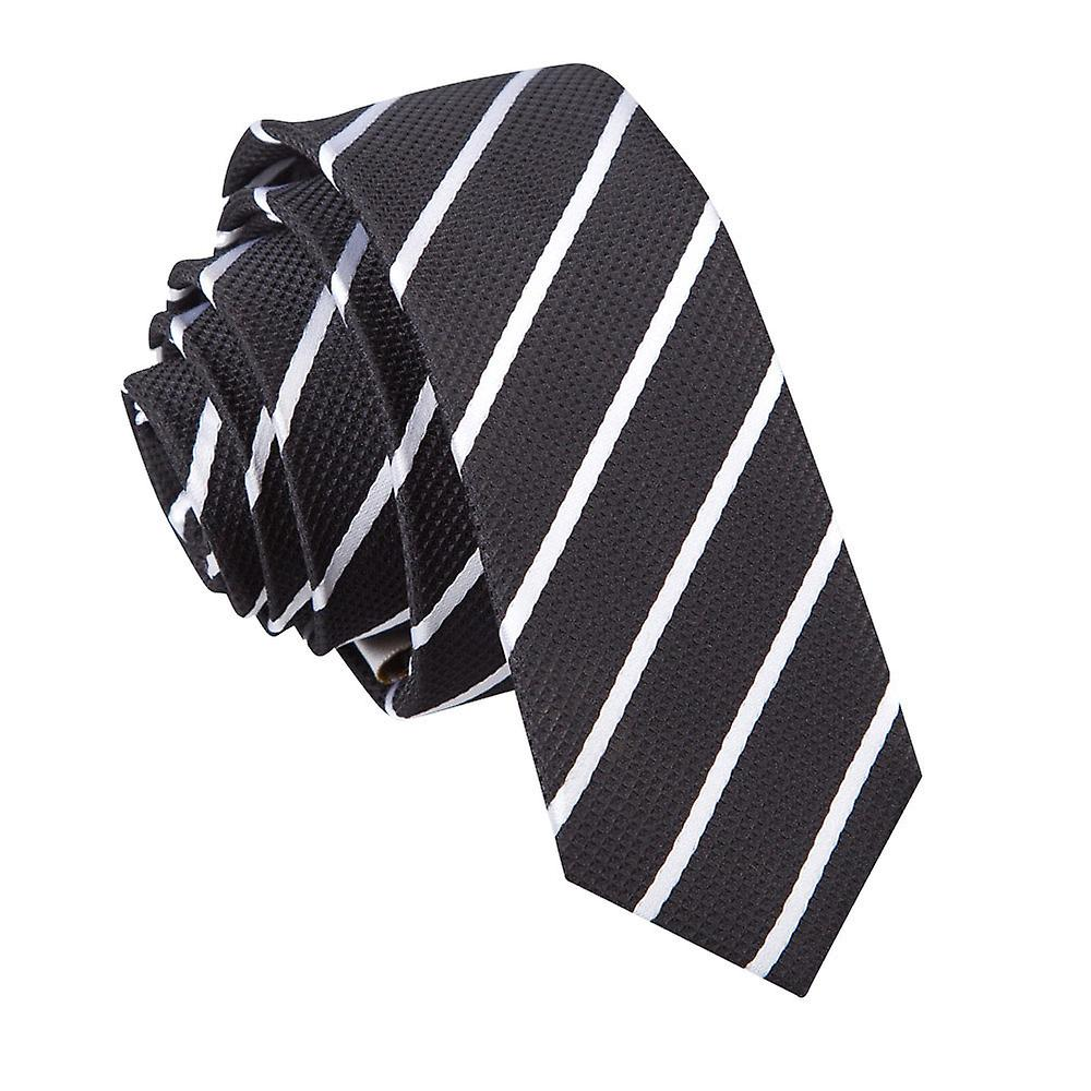 Single Stripe Black & White Skinny Tie