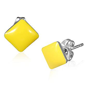 Urban Male Stainless Steel & 7mm Yellow Resin Square Stud Earrings