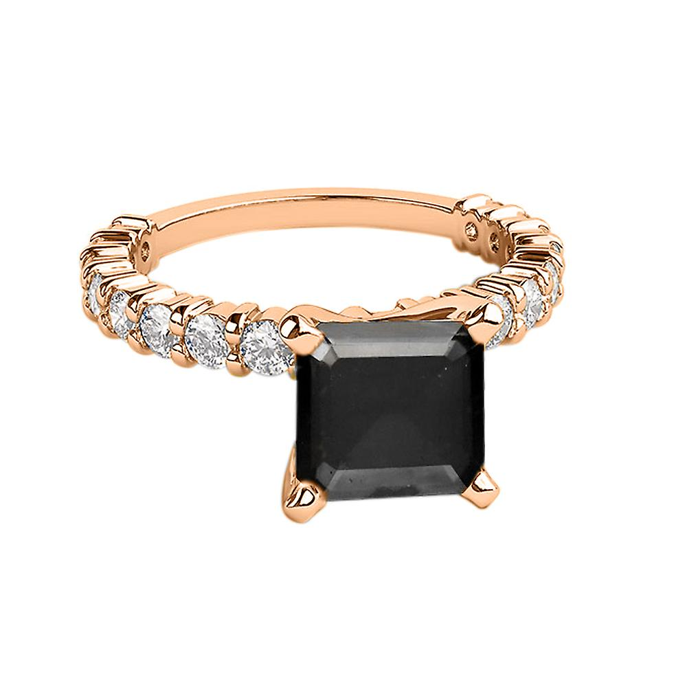 14K Rose Gold 2.90 CTW Black Diamond Ring with Diamonds Princess Cut Unique