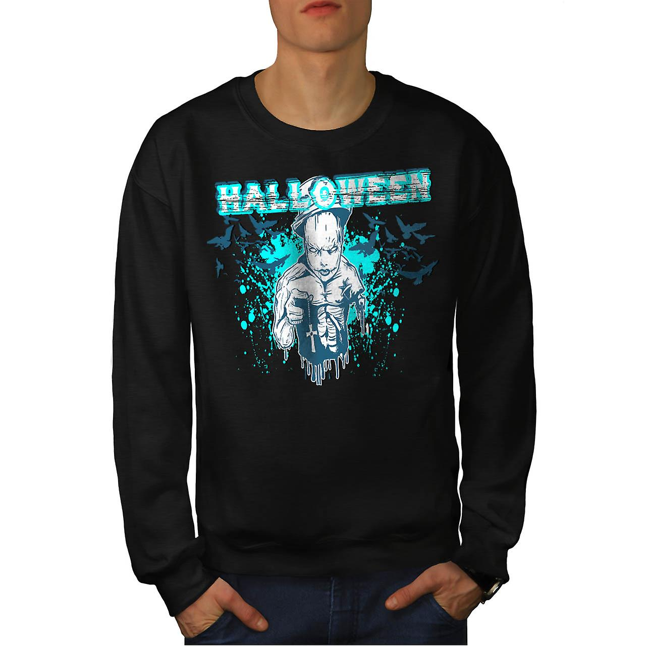 Halloween Horror Cult Scary Demon Men Black Sweatshirt | Wellcoda