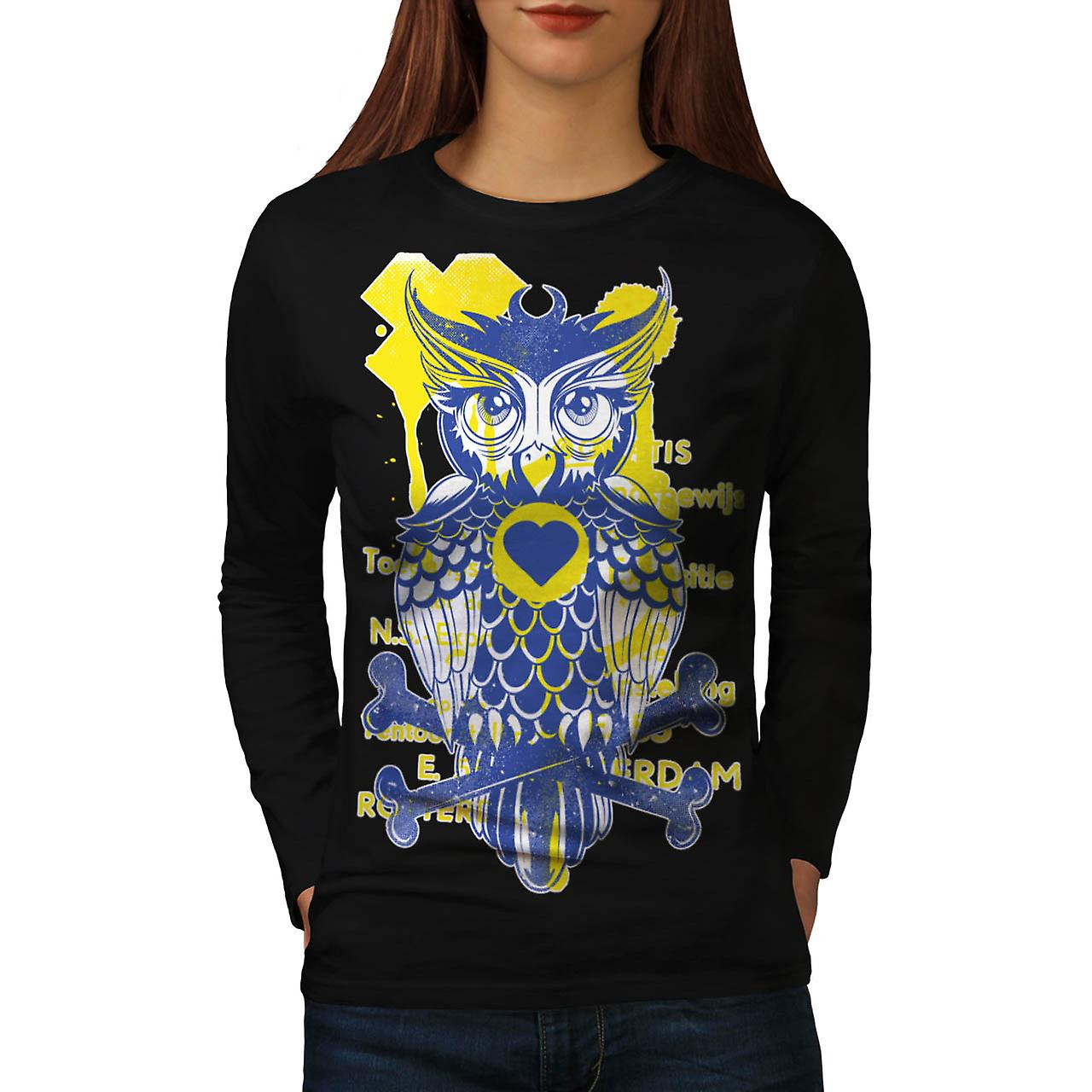 Rotterdam Wild Owl Bird Bones Women Black Long Sleeve T-shirt | Wellcoda