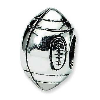 Sterling Silver Polished Antique finish Reflections Football Bead Charm