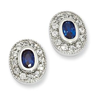 Rhodium-plated September Oval Cubic Zirconia Earrings