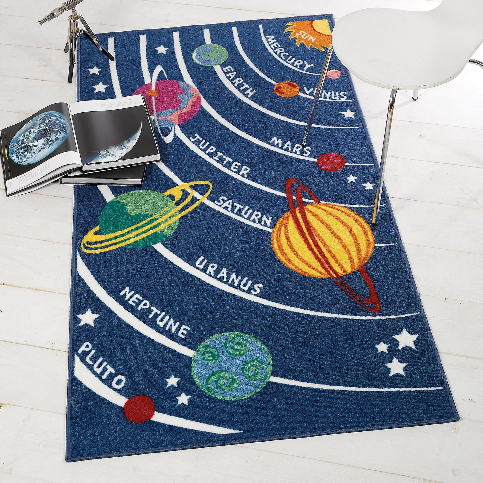 Alfombra de juego lavable de planetas de matriz