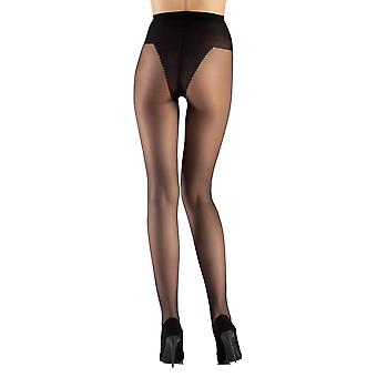 Tarqa - transparent skinnende satin look strømpebukser thong 20 i sort