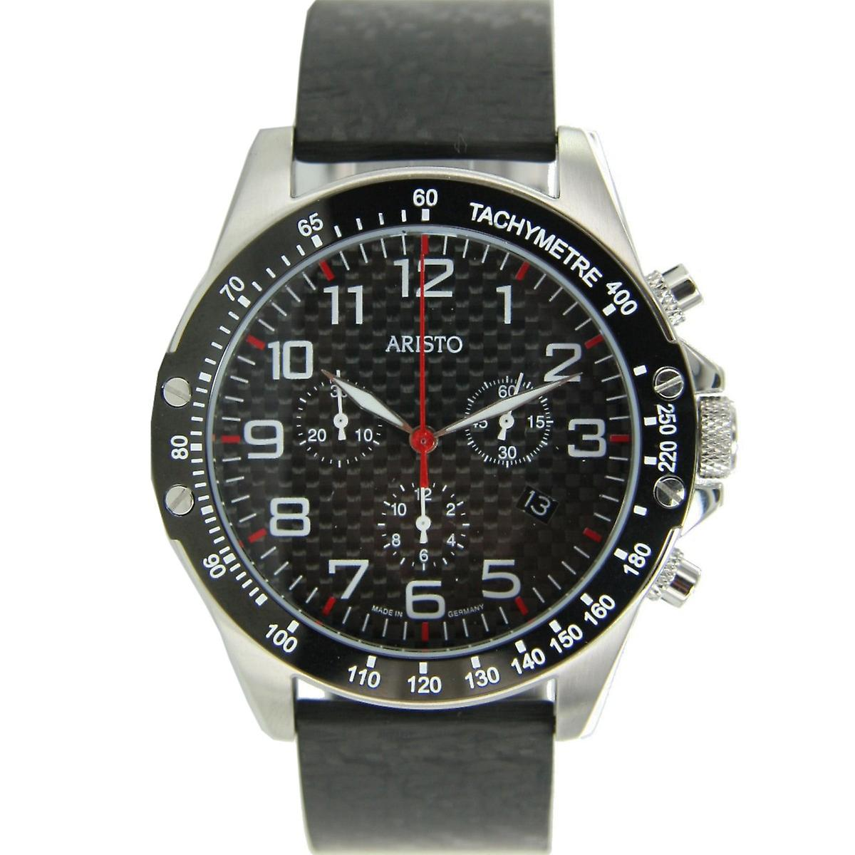 Aristo mens watch Chronograph Carbon stainless steel trophy buckle 4 H 157