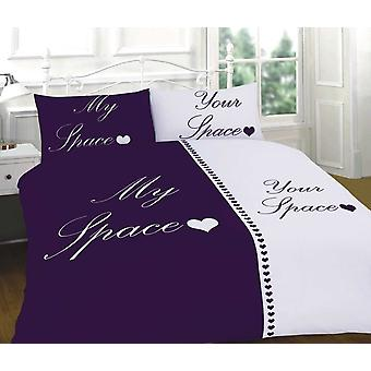 My Space Your Space Purple & White Bedding Duvet Cover & Pillowcases Set