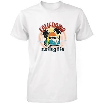 California Surfing Life Graphic Men's T-shirt Sunset Palm Tree Mini Van Tee  Funny Shirt