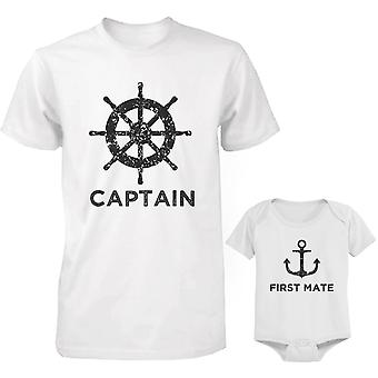 Captain Father Shirt And First Mate Infant Bodysuit Outfit Set Father's Day Gift