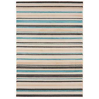 Kampala Teal Blue Stripe Contemporary Rug
