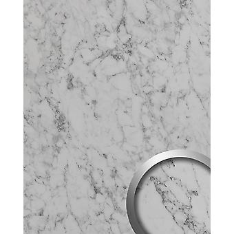 Wall cladding marble optics WallFace 19338 MARBLE WHITE decor Panel smooth stone look matt self-adhesive white grey 2,6 m2