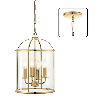 Endon 70322 Lambeth 4 Light Ceiling Pendant In Brass With Clear Glass