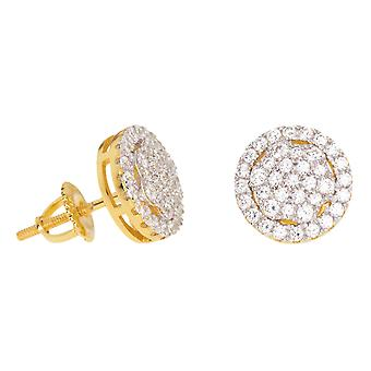 925 sterling silver MICRO PAVE earrings - FLOWER 10 mm gold