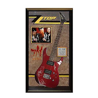 ZZ Top Band Autographed Legs Signed Guitar in Framed Case COA