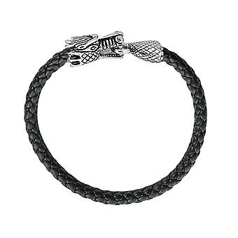 David Sigal Mens Leather Dragon Bracelet in Stainless Steel