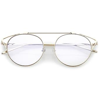 Oversize Open Metal Cat Eye Glasses With Crossbar And Round Clear Flat Lens 55mm