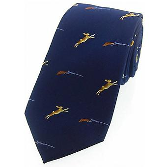 David Van Hagen Hares and Shotguns Woven Country Silk Tie - Navy